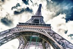 Tower eiffel view from below Stock Photos