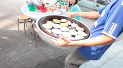 Dim Sum Being Served Outdoors in Chinese Restaurant in Kuala Lumpur Stock Video - stock footage