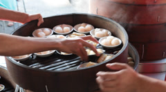 Dim Sum Being Prepared in Chinese Restaurant in Kuala Lumpur Stock Video - stock footage
