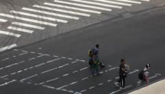Unfinished Crosswalk With Pedestrians in New York Stock Video Stock Footage