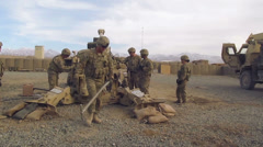 M777 - Howitzer - Reloading And Firing 01 Stock Footage