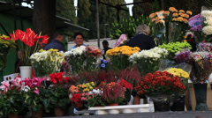 Flower sales outside a Rome cemetery 1 Stock Footage