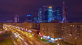 Night city view, Tilt-shift effect. Moscow, time-lapse. HD Footage