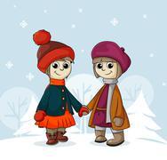 Two girlfriends in winter Stock Illustration
