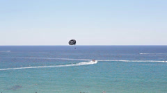 Extreme paragliding with riding in open Mediterranean sea, Paphos, Cyprus Stock Footage