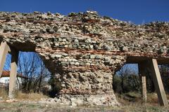 the ancient wall that archaeologists have found.ancient walls in the ground. - stock photo