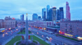 Day to night city view, Tilt-shift effect. Moscow, time-lapse. HD Footage