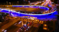 Night city traffic, tilt-shift effect, Moscow. Time-lapse. HD Footage