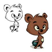 bear with cocoa - stock illustration