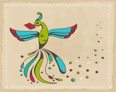 fabulous bird - stock illustration