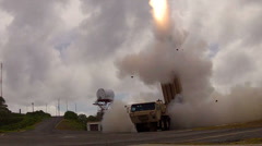 Missile Launch - 3 shots Stock Footage