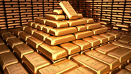 Stock Video Footage of Fine Gold bars in depository