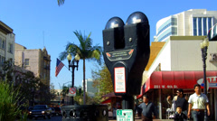 Juxtaposition Of New Parking Meters In Historic Downtown Santa Ana CA Stock Footage