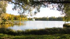 Venera pavilion and White (Beloye) lake. Gatchina, Russia Stock Footage
