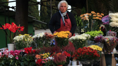 Flower sales outside a Rome cemetery 2 Stock Footage