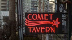 Comet Tavern Sign, Seattle Stock Footage