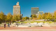 Stock Video Footage of Tilting-up to the City of Asheville Seen from Pack Square