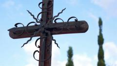 Metallic Gothic Cross Dolly Stock Footage
