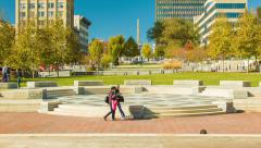 Asheville, NC Downtown Scene in Fall from Pack Square Park Stock Footage