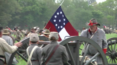 Battle of Shilo Tennessee Civil War reenactment Rebel Soldier with Regiment flag Stock Footage