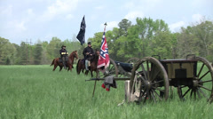 Battle of Shilo Tennessee Civil War reenactment - Union officers on horseback Stock Footage