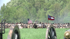 Battle of Shilo Tennessee Civil War reenactment - Confederates advancing Stock Footage