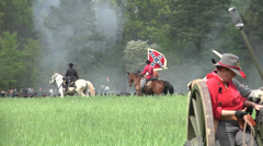 Taistelu Shilo Tennessee Civil War reenactment - Konfederaation lippu. Arkistovideo