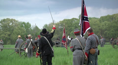 Battle of Shilo Tennessee Civil War reenactment - Confederate line - stock footage