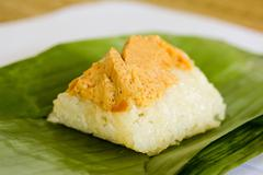 sweet sticky rice with egg custard topping - stock photo