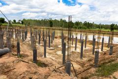 Construction site for foundation building Stock Photos