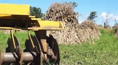 Disc Harrow Corn Piles Dolly Stock Footage