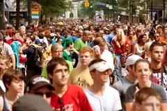 thousands of spectators fill street after atlanta dragon con parade - stock photo