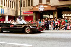 Batman rides in batmobile in atlanta dragon con parade Stock Photos