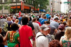 Huge crowd fills street following atlanta dragon con parade Stock Photos