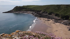 Fall Bay on the Gower Peninsula, south Wales, U.K., in Summer Stock Footage