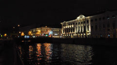 Stroganov palace and Moyka river near Nevsky prospect. St.Petersburg, Russia Stock Footage