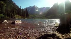 Maroon Bells Aspen Colorado, mountains and lake Stock Footage