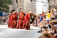 Stock Photo of spartan warriors ready their spears in atlanta dragon con parade