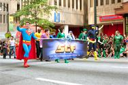 Stock Photo of superman walks in atlanta dragon con parade