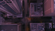 Stock Video Footage of Wide aerial shot following 3rd Avenue through Downtown Seattle