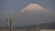 Stock Video Footage of Shinkansen Train Passes Mount Fuji Westbound