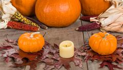 fall decorative display with pumkins - stock photo