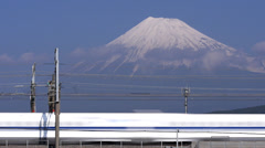 Shinkansen Trains Pass Mount Fuji Time Lapse Stock Footage