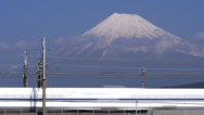 Stock Video Footage of Shinkansen Trains Pass Mount Fuji Time Lapse