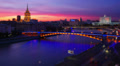 Night city view, Tilt-shift effect. Moscow, time-lapse. Footage