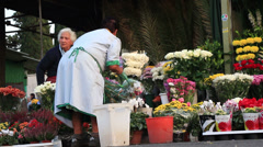 Flower sales outside a Rome cemetery 8 Stock Footage
