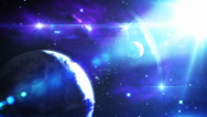 Stock Video Footage of CG Space Scene of Planet Earth with Lens Flares and Stars