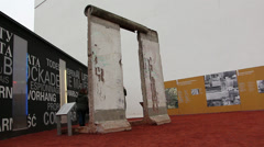 Outdoor exhibition at Checkpoint Charlie - stock footage