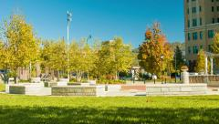 People Enjoying Asheville's Sunny Pack Square Park in the Fall Stock Footage