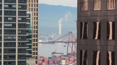 Vancouver Canada Port Crane from Downtown Highrise Stock Footage